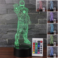 veilleuse iron man achat en gros de-Maison intelligente Iron Man 3d Night Light LED Télécommande Touch Lumière colorée Visual Light Visual Lights