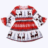 Wholesale fall girl clothes resale online - 2019 girls christmas dresses kids boutique clothing fall childrens clothes baby girl flared sleeve dress reindeer print dress hot