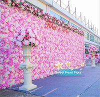 Wholesale flower back backdrops for sale - Group buy 2019 Hot Sale X40CM Romantic Artificial Rose Hydrangea Flower Wall for Wedding Party Stage and Backdrop Decoration Many colors
