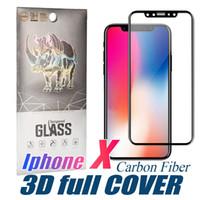 iphone cheio de carbono venda por atacado-Vidro curvo completo para iPhone 11 Pro max XS MAX filme protetor de fibra de carbono Borda suave protetor de tela de vidro temperado para iPhone 7 com Box