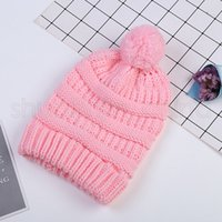 Wholesale cute boys cap for sale - Group buy Cute Kids Knitted Hats Fashion Girl Warm Winter Soft Plush Ball Pompom Hat Outdoor Children Candy Colors Beanie Caps TTA1379