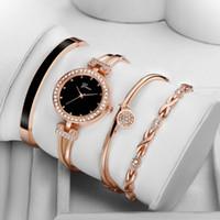 kızlar elmas bilezikler toptan satış-4 ADET Set Kadınlar Gül Altın Elmas Bilezik Izle Lüks Takı Bayanlar Kadın Kız Saat Casual Kuvars Saatı