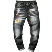 neue gelbe jeans für männer großhandel-Trend New Stickerei Gelb Schmetterling Sprühfarbe Welle Punkt Schlank Enge Gerade Herren Jeans Loch Hose
