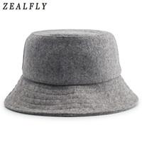 Wholesale felt bucket hats for sale - Group buy Autumn And Winter Skiing Keep Warm Woolen Fisherman Hat Men Hip Hop Adjustable Solid Cap Women Wool Felt Bucket Hats