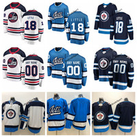 bebê bule venda por atacado-2019 Património Branco Winnipeg Jets Bryan Pequenas Camisolas De Hóquei Azul Bebê # 18 Bryan Little Costurado Jerseys Personalizar Nome Número