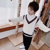 suéter de jersey de cuello v al por mayor-Suéteres casuales para niños Otoño Invierno 2019 Suéter de punto para niños y niñas Suéter de punto para niños Tops de manga larga