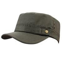 плоские верхние военные шляпы оптовых-Мужские мужские Летние 100% Хлопок Спорт на открытом воздухе Бег Cadet Flat Twill Corps Пик Военная Армия Путешествия Бейсболка Шапка Шапки Шляпы