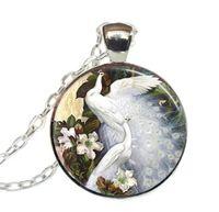 collar floral blanco al por mayor-Nueva moda collar colgante Collar de pavo real Elegantes pavos reales y flores Joyería de aves, Floral, Naturaleza Collar colgante de arte