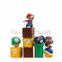 ingrosso micro proiettili-Supper Mario 10pcs / lot fai da te Micro-View layout giocattolo Mario proiettile fungo di azione del tubo Figure giocattolo bambola
