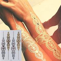indische körperaufkleber großhandel-Body Art Tattoo Sticker Glitzer Metall Gold Silber Temporäres Flash Tattoo Einweg Indianer Tattoos T190711