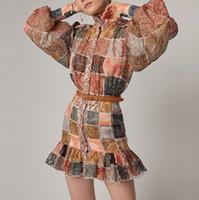 mini saia elegante venda por atacado-Mulheres Xadrez Impressão Elegante Vestido Vintage Feminino Lanterna Manga Designer de Camisa Pista de Vestido Das Senhoras Mini Saia Plissada Vestidos