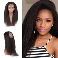 Wholesale 360 Full Lace Frontal Closure Kinky Straight Virgin Human Hair Free Part Natural Color Can Be Dyed Non Processed G EASY