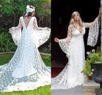 spitze lange kleidstile großhandel-2019 Gothic Brautkleider Custom Made Vintage viktorianischen mittelalterlichen Stil mit langen Ärmeln Lace A-Linie Strand Brautkleid Boho Brautkleid