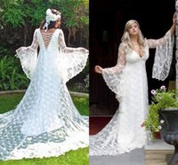 Wholesale medieval gothic wedding dresses resale online - 2019 Gothic Wedding Dresses Custom Made Vintage Victorian Medieval Style Long Sleeves Lace A line Beach Bridal Dress Boho Bride Gown