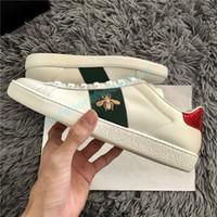 unisex schuhe mode groihandel-Modedesigner Luxus Männer Frauen Schuhe Sneakers Weiß Schwarz ACE-Stickerei-Bee-Tiger-Kopf-Schlange rotes Herz beiläufige flache Espadrilles Trainer
