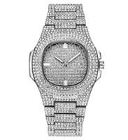 luxo marca ouro venda por atacado-op Marca de Luxo Iced Out Assista Relógio De Diamante De Ouro para As Mulheres Dos Homens de Quartzo Quadrado À Prova D 'Água relógio de Pulso Relogio masculino