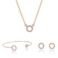 ожерелье из ожерелья оптовых-designer jewelry sets circle jewelry sets rose gold color earrings necklaces bracelets for women hot fashion