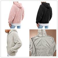 plüsch hoodie männer großhandel-Sherpa Herren Pullover Hoodies Plüsch Fleece-Pullover Herbst Winter Langarm Furzzy Sweatshirt Teenager Pullover Hip Hop Mit Kapuze Tops Outwear