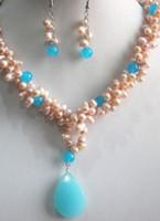 ensemble de pendentifs bijoux de perles achat en gros de-collier Livraison gratuite ++++ charme Jew.657 Fashion Pearl / Blue Jade Collier Boucle D'oreille Pendentif Bijoux Ensemble