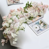 Wholesale silk wall ivy resale online - 180cm Sakura Cherry blossom Rattan Artificial flowers for Home party Wedding decoration Silk Ivy Vine wall Hanging Garland