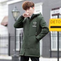 Wholesale clothes young men online - Men s Winter velvet coat Korean version handsome trend top cotton clothes young casual in the long hooded men jacket winter