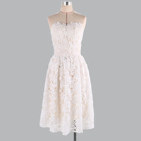 vestidos de dama de honra querido branco curto venda por atacado-Sexy querida da dama de honra vestidos sem mangas Mini vestido madrinha 00800 elegante curto branco do laço vestido de festa de casamento para