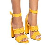 siyah çiçek topuklu ayakkabılar toptan satış-Kadın Yüksek Topuklu Sandalet Çiçek Yaz Kaba Topuk Büyük Boy Kaymaz Artış Nefes Siyah Mor Moda 39hl C1