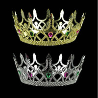 Wholesale children birthday crown for sale - Group buy Plastic Crown Hair Hoops Child Birthday King Headwear Child Golden Sliver Color Crown Prince Head Hoop rx L1