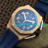 Wholesale quartz watches arabic numerals resale online - Designer Swiss VK Quartz Chronograph Blue Mens Watch Brushed Stainless Steel Arabic Numeral Sapphire Crystal Luminous Wristwatch Colors