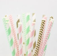 pastel de pops de papel pajitas al por mayor-Al por mayor- (100pcs / lot) Cake Pop Sticks / Party Paper Straws Mason Jar Striped Gold Pink Chevron Straws Wholesale Straws Rustic Wedding