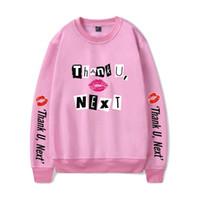 nächstes rot großhandel-Ariana Grande danke U weiter Hoodies / O-Neck-Sweatshirt 2019 Neues Album Weiches Rosa / Rot Unisex-Mode Oversize HighStreet-Tuch