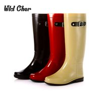 Wholesale bright boots resale online - Charming Cute British Style Bright Mirror Knee High Fashion PVC Rain Boots Water Shoes Rainboots For Woman