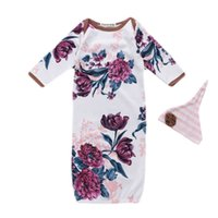 peônia branca venda por atacado-Bebê recém-nascido Saco de Dormir Branco Manga Comprida Peônia Impressão Saco de Dormir Infantil Do Bebê Vestido Layette Macio Sleeper 48