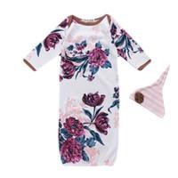 peonía floral al por mayor-Saco de dormir para bebés recién nacidos Saco de dormir de manga larga con estampado de peonía de color blanco Vestido de bebé para niños Sujetador suave 48