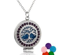 Wholesale new crystal perfume for sale - Group buy NEW Perfume Aroma Diffuser Locket Necklaces Tree of Life Pendant Magnetic Perfume Locket With Felt Pads cage pendant Jewelry colors