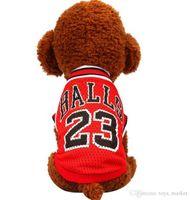 uniformes do cão venda por atacado-Primavera e no verão moda uniforme de Basquete roupas para cães de estimação Respirável coletes de malha para a roupa do cão de pelúcia