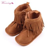 botas de bebé niña caen al por mayor-Baby Winter Warm Tassel shoes Fall Winter Girls Botas de nieve suave para niños pequeños y lindos
