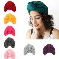 ingrosso cappello della donna nodo-Cappello da donna bohemien Nodo Copricapo in cotone Cuffie da donna Cappelli con turbante Accessori 13 colori M192