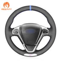 envoltura de cuero de coche al por mayor-MEWANT Custom cuero genuino negro con rotulador cubierta cosido a mano cubierta del volante del coche para Ford Fiesta ST 2013-2018