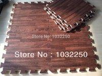 yapboz mat köpük yapboz toptan satış-Toptan-Yeni 9 feet kare Ahşap kilitleme Ağır Hizmet Köpük Kat Puzzle Çalışma Salonu Mat Kahverengi