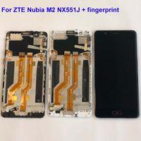 ingrosso schermo zte lcd-Originale per ZTE Nubia M2 NX551J fingerprinter Nero Bianco Amoled LCD Screen Display Touch Screen Digitizer Assembly Frame