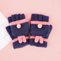 Wholesale knit mittens women for sale - Group buy Elephant baby half finger gloves children s knit magic gloves men and women large and medium children writing winter flip