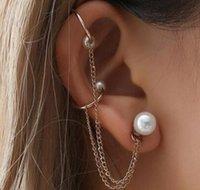 zincir kulak damlaları toptan satış-Kadın Kızlar Tek Inci Küpe Uzun Zincir Kulak Klipsi Kulak Damla Gelinler Nedime Düğün Parti Kulak Çiviler Takı Chic Hediyeler
