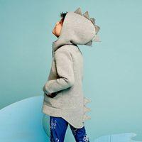 erkek dinozor ceketi toptan satış-Bebek erkek mont Çocuk Çocuk Bebek Kabanlar Ceket Dinozor Stil Kapşonlu Şapkalar Sevimli Coat Giyim çocuklar için dış giyim