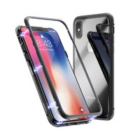 Wholesale iphone case fit goophone for sale – best Luxury Phone case Magnetic Adsorption Flip for iphone x case Tempered Glass Back Cover Metal Bumpers for Goophone phone case
