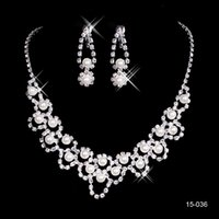 Wholesale necklace water pearls online - 15036 Hot Sale Holy Rhinestone Crystal Earring Pearls Necklace Set Bridal Party Lobster Clasp Cheap Jewel Sets for Prom Evening Wedding