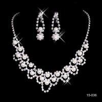 ingrosso perla in vendita-15036 vendita calda santo strass orecchino di cristallo collana di perle set da sposa partito aragosta chiusura a buon mercato insieme di gioielli per la cerimonia nuziale di promenade