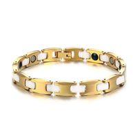 brazaletes de oro blanco para las mujeres al por mayor-ZORCVENS 100% de color oro pulsera de tungsteno joyería de las mujeres saludables de cerámica blanca pulseras de la energía brazaletes