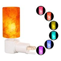 ingrosso lampada da parete naturale naturale-LED RGB Salt Lamp Night Light Decorativo Naturale Himalayan Crystal Salt Light Purificatore d'aria Lampada da parete Lampada per cilindro Lampada per asilo nido