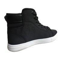 marka tuval dantel ayakkabıları toptan satış-Yüksek Kalite Erkekler Tuval Marka Sneakers Siyah R02 kadar 2019 Moda Yüksek üst Erkekler Casual Ayakkabı Nefes Tuval Man Dantel Ayakkabı